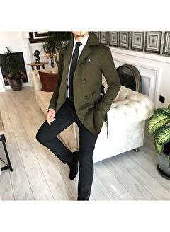 Terzi Adem 3610 İtalyan Stil Slim Fit Mevsimlik Erkek Trençkot Mont Yeşil T4976